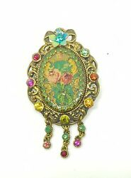 Michal Negrin  Romantic Golden Brooch  colorful flowers Swarovsky Crystals wow