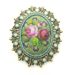 Michal Negrin Romantic Golden Brooch fabric colorful flowers Swarovsky Crystals