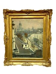 Framed Antique Albert Ludovici English Impressionist Thames River Painting 1880andrsquo