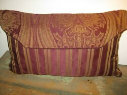 Pillow Tapestry and Stripe Burgundy Beige 22 x 13 Home Decor