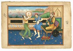 Indian Miniature Old Painting Emperor Shahjahan Enjoying Music And Dance