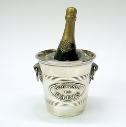 Incredible Antique French Bronze And Crystal Inkwell Champagne Bottle Ice Bucket