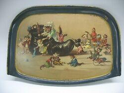 Antique Tin Litho Louis Wain Cat Child's High Chair Tray Old Woman In Shoe
