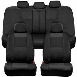 Bdk Faux Leather Full Set Car Seat Covers - Front And Rear Two-tone In Black
