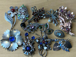 Vintage Lot Of 12 Twelve Sterling Silver Pins Brooches Floral All Stamped Signed