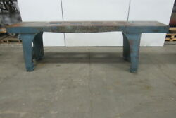 Vintage Cast Iron Webbed Top Machine Base Work Table Bench 121-3/4x21-5/8x37h