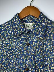 Vintage Two Palms Hawaiian Shirt Mens Sz M Blue SS Floral All Over Casual Aloha $25.99