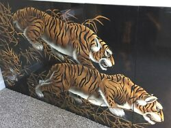 Japanese Style 5 Panel Screen Of Prowling Tigers Done By Artist Mary F Azar