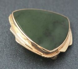 Womens Brooch 9ct 375 Gold & Jadeite Jade Shield Style Vintage Jewellery