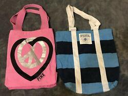 Lot 2 Victoria#x27;s Secret Pink Bags Totes Canvas Pink Blue $20.00