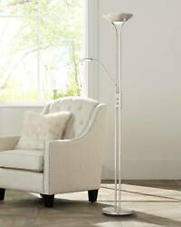 Modern Torchiere Floor Lamp with Side Light LED Dimmable Brushed Nickel Reading