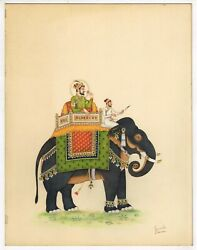 Mughal Emperor Shah- Jahan On Elephant Mughal Painting Real Gold And Gouache Art