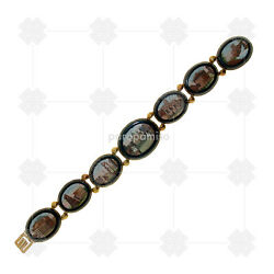 2880 Micro Mosaic And Gold Bracelet Roma Second Half 19th C.
