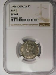 Canada 1926, 5 Cents, Far 6, Ngc Ms-62, Rare Opportunity