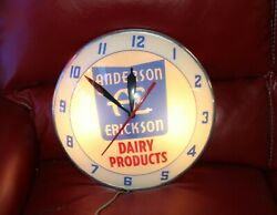 1950s Anderson Erickson Dairy Products Advertising Double Bubble Clock