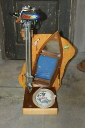 1930-40s Evinrude Elto 4264 Outboard Motor Restored On Custom Display Stand