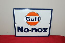 1950-60's Gulf No-nox Pump Plate Single Sided Porcelain Sign