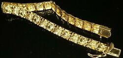 Vtg Classic 14k Solid Yellow Gold Hinged Nugget 8mm Bracelet 7.25 Heavy 20 Gr