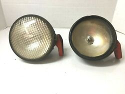 Lot 2 Vintage 6 Guide Tractor Lens Lamp Light Fixture Cast Iron Mount One Glass