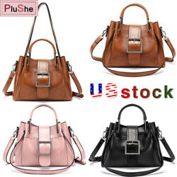 Womens VintageHandbag Shoulder Tote Bags Oil Wax Leather Crossbody Purse Satchel $18.99