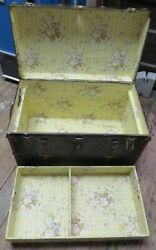 Antique Steamer Trunk Metal With Tray Insert 20.5 Tall 32 Long 18 Deep Oldie