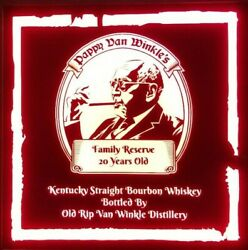 Pappy Van Winkle Whiskey Led Sign Personalized Home Bar Pub Sign Lighted Sign
