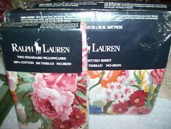 Set 4 New Southampton Floral Queen Fitted Flat Sheet 2 Pillowcases