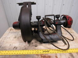 Vintage Steampunk Early Industrial Cast Iron Bench Grinder 10