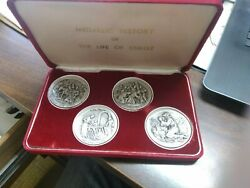 Medallic History Of The Life Of Christ 4 Coins 8 Different Scenes .999 Silver