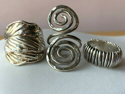 Jewelry Lot Of 3 Vintage 925 Sterling Silvr Wide Large Ring Bands Made In Israel