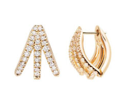 1.12ct Natural Diamond 14k Solid Yellow Gold Hoops Earring Snap Closure