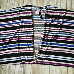 Travel Elements Womens Large Open Cardigan Striped NWT Black Blue White