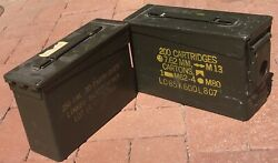 2 Us-military-ammo-metal Box Can 200 Cartridges 7.62mm M13 M80 M62 Cases Empty