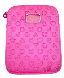 Marc Jacobs Designer iPad Case Sleeve Neoprene Logo Neon Hot Pink Soft Cover