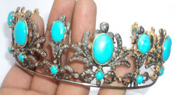 11.72cts Rose Cut Diamond Turquoise Antique Victorian Look 925 Silver Tiara