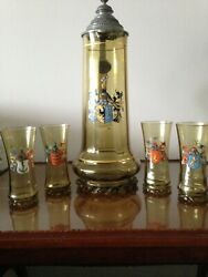 Antique German Beer Stein - 3.0L Glass with 4 tumblers - hand painted crests