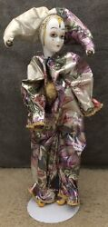 """House Of Lloyd Music Box Court Jester Porcelain Doll, 16"""" Tall"""