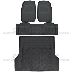 4pc Full Set All Weather Heavy Duty Rubber Black Suv Floor Mats Trunk Liner⭐⭐⭐⭐⭐