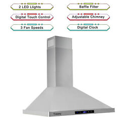 30 Range Hood 700cfm Wall Mount Stainless Steel Touch Control 3speed Stove Vent