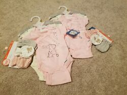 6 Newborn baby girl clothes lot + 6 wonder Nation baby mittens size 0-3 months  $16.99