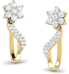 0.87ct Natural Round Diamond 14k Solid Yellow Gold Snap Closure Hoops Earring