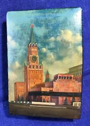 Russian Lacquer Box /moscow Kremlin/ Fedoskino Art Painting Old Soviet Signed