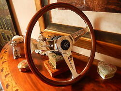 Mercedes R107 450 Sl Wood Steering Wheel Nardi 15.3 Old Type 1970and039s Horn Button