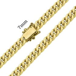 10k Authentic Hollow Yellow Gold Miami Cuban Link Chain Necklace Men 7mm 2030