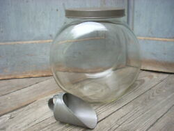 Antique Glass Jar Canister W/ Tin Lid And Scoop
