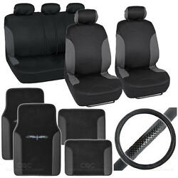 14pc Bucatti Black Charcoal Car Seat Covers,floor Mats And Steering Wheel Cover