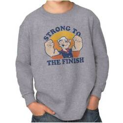 Official Popeye Sailor Strong To The Finish Youth Long Sleeve T Shirts Tshirts $9.99