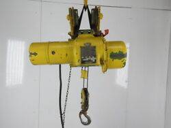 Robbins And Myers 1/2 Ton Electric Cable Hoist 220/440v 3ph 13and039 Lift 16fpm Trolley