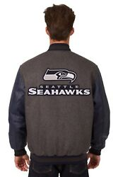 Nfl Seattle Seahawks Wool And Leather Reversible Jacket With Embroidered Logos