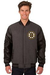 Nhl Boston Bruins Wool And Leather Reversible Jacket With Embroidered Logo Gray